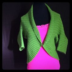 """RETRO Rhinestone ribbed Shrug Green linkLux size small/medium 80% wool 20% cashmere nice week actually pretty warm Sharon can be worneither open or hooked in front. Very Marilyn-esque. 3/4 sleeves.hangs to approximate length of 24"""" in back. Difficult to measure because of the circular shape. Link lux Sweaters Shrugs & Ponchos"""