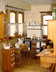primitive country kitchen.. looks like it is set back in time