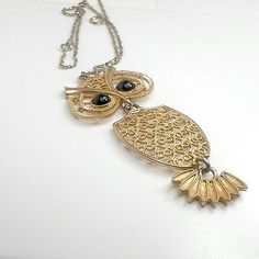 Sarah-Coventry-Nite-Owl-necklace-3-part-black-eyes-faux-filigree-20-in-chain