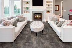 Like this flooring! and set up...add rug? Luxury Vinyl Tile - Allwein Carpet One - Annville, PA