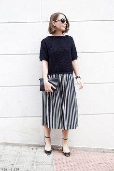 Trini | Sandro jumper J.Crew striped skirt Valentino Tango pumps Céline pouch #stripes