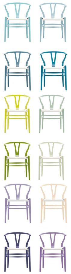 For the Wishbone Chair's 60th anniversary, the Danish furniture designer Hans J. Wegner, Carl Hansen & Son has released 12 new colors.