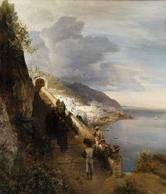 Oswald Achenbach - 1883 The Amalfi Coast with Stairs to the Capuchin Monastery