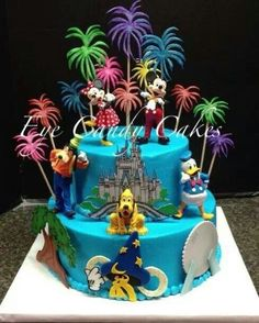 Walt Disney World theme tiered cake - All 3D effects are made of fondant. Description from pinterest.com. I searched for this on bing.com/images