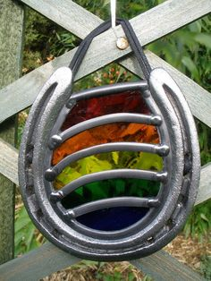 Stained Glass Rainbow in a Horseshoe  Good by StainedGlassGArt