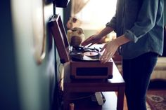 My record player came yesterday- funny this came up on pinterest because i was also wearing all denim :)