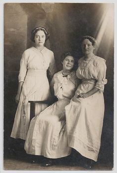 Old Photo Postcard Women wearing Long White Dresses Lace Early 1900s  Photograph vintage Azo Rppc