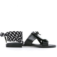 Manolita tie-up sandals (£195) ❤ liked on Polyvore featuring shoes, sandals, black, black tie shoes, small heel sandals, short heel shoes, low heel sandals and black low heel sandals