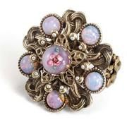 Romanian Bohemian ring with opals and a glass centerpiece