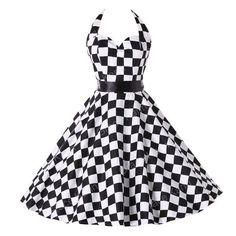 Summer style Womens Plaid Dresses Vintage 50s 60s Pin up Rockabilly clothing retro Audrey swing vestidos plus size Print Dress