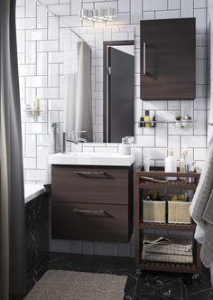 GODMORGON / ODENSVIK kast voor wastafel met 2 lades | IKEA IKEAnl IKEAnederland inspiratie wooninspiratie interieur wooninterieur badkamer douche opbergen spiegel opberger kraan tegels bad