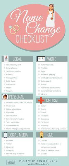 Wednesday Weddings: Name Change Checklist #weddinginfographic