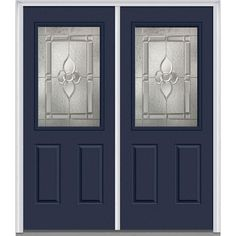 Milliken Millwork 74 in. x 81.75 in. Master Nouveau Decorative Glass 1/2 Lite 2 Panel Painted Fiberglass Smooth Exterior Double Door, Naval