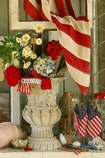 Great Fourth of July vignette.  Have Fourth of July party and celebrate our great country.  Be patriotic.