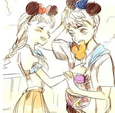 Jack and Elsa in Disney world to cute