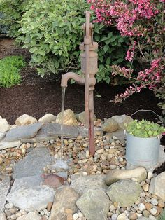 Small garden pond with old hand pump - Garden Junk Forum (Diy Garden Pond) Ponds For Small Gardens, Small Ponds, Outdoor Water Features, Water Features In The Garden, Old Water Pumps, Garden Fountains, Garden Ponds, Garden Water, Water Gardens