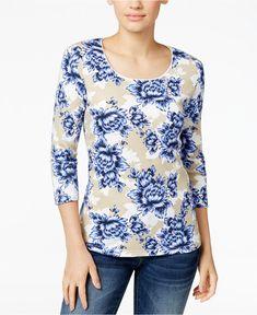 NWT 2XL 3/4 Sleeve Plus size Womens Floral Top Shirt Karen Scott New With Tags #KarenScott #Blouse