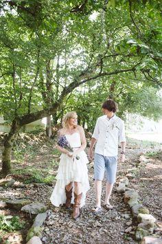 We walked down the aisle together :) outdoor farm wedding; nik & chris | an eco-friendly, handmade coastal welsh wedding » Home
