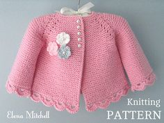 Discover thousands of images about Knitting PATTERN Baby Jacket Baby Cardigan Garter stitch Knit Cardigan Au Crochet, Cardigan Bebe, Baby Cardigan Knitting Pattern, Baby Knitting Patterns, Crochet Pattern, Pull Bebe, Baby Girl Jackets, Baby Girl Patterns, Point Mousse