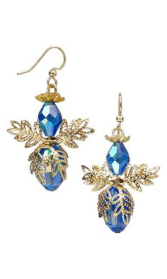 Earrings with Celestial Crystal® Beads and Gold-Colored Brass Bead Caps - Fire Mountain Gems and Beads