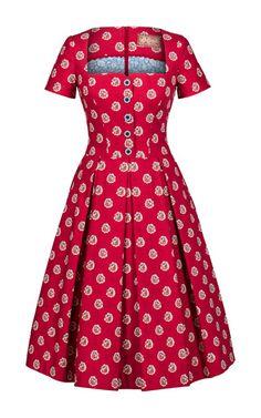 Provence bouquet cherry dress by LENA HOSCHEK for Preorder on Moda Operandi