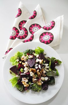 """Beet Goat Cheese Walnut Salad: Lettuce, beets, red onion, goat cheese and toasted walnuts topped with a red wine vinaigrette. Shown with Passion Flower Napkins in Berry and Chocolate on Cream @Wabisabi Green <a class=""""pintag searchlink"""" data-query=""""#beetsalad"""" data-type=""""hashtag"""" href=""""/search/?q=#beetsalad&rs=hashtag"""" rel=""""nofollow"""" title=""""#beetsalad search Pinterest"""">#beetsalad</a>"""