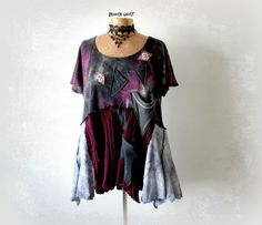 Plus Size Top Rustic Boho Shirt Women's Artsy Clothing Purple Slouchy Tunic Lagenlook Clothes Loose Fit Layers Eco Friendly Top 1X 2X 'LYDIA