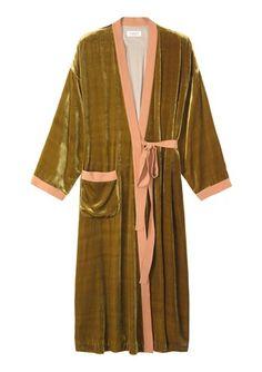 Silk velvet dressing gown - toast