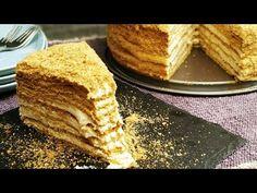 Μεντόκ - Medovic Ρώσικη τούρτα με μέλι- Russian Honey Cake - YouTube Russian Cakes, Honey Cake, I Foods, Cornbread, Cheesecake, Sweets, Cooking, Ethnic Recipes, Trust