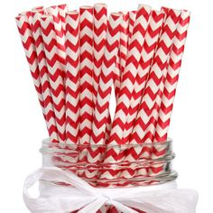 Red Chevron Paper Straws (24)