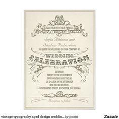 vintage typography aged design wedding invitations