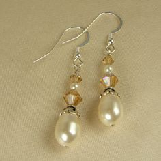 Simple & elegant Swarovski Crystal Golden Shadow and Teardrop Pearls