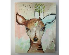 Hey, I found this really awesome Etsy listing at https://www.etsy.com/listing/516394894/original-deer-painting-whimsical-boho