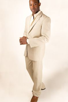 Linen Suit for Beach Wedding - @Monica Britland. This is what Seth wants.