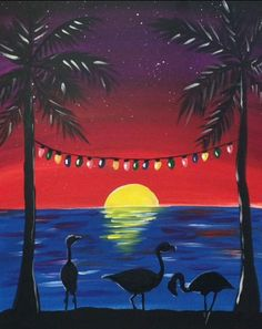 How To Paint A Flamingo Christmas Sunset is part of Cute painting - Learn how to paint a Flamingo Christmas Sunset with Tracie's Step By Step Acrylic Canvas Painting Tutorials! Easy, Simple & Fun for Beginners! Canvas Painting Tutorials, Easy Canvas Painting, Simple Acrylic Paintings, Winter Painting, Acrylic Painting Canvas, Canvas Art, Christmas Paintings On Canvas, Christmas Canvas, Coastal Christmas