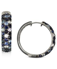 Balissima by Effy Collection Sterling Silver Earrings, Multicolor Sapphire Large Hoop Earrings (4 ct. t.w.) - Earrings - Jewelry & Watches - Macy's