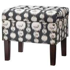 Accent Furniture Storage Ottoman with Legs - Gray/White