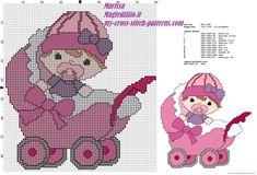 Schema punto croce gratis bambina nella carrozzina
