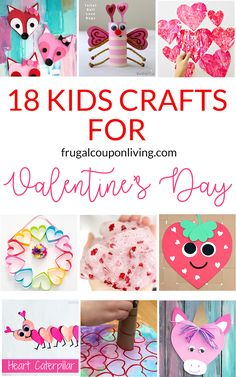 18-kids-crafts-valentines-day posted by Ashley... Each of these Valentine crafts is easy enough for most ages to enjoy making. Collect some items from around the house and a few craft supplies for an hour or two of Valentine's Day fun. If you're a room parent who helps out in your child's classroom or a cub scout leader leading a pack, perhaps a homeschool mom and dad..great ideas for Valentine's Day