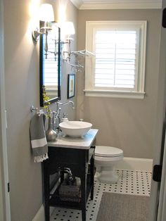 Small Gray Guest Bathroom Ideas With Black Wooden Console Sink Added Vintage Bright Wall Lamp Also Single Glass Windows Bath Designs