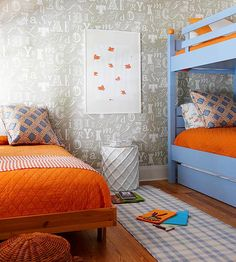 Punchy orange and pale blue are gorgeous together.