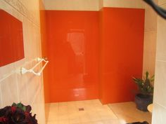 Acrylic Showerwalls in 2 Different Colours. Bright Delight And Coppersmith. Installed by OzzieSplash