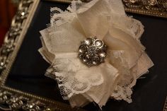 Ivory and Lace Fabric Flower with Vintage by MyBellasBowtique, $10.95