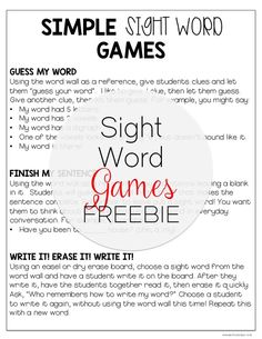 These sight word games are great fun for my students! They are simple, easy to do on the run or when you have a few minutes of time to fill! Grab this sight word game freebie to use them in your class! Teaching Sight Words, Sight Words List, Sight Word Practice, Sight Word Games, Sight Word Activities, Writing Practice, Literacy Activities, Word Study, Word Work