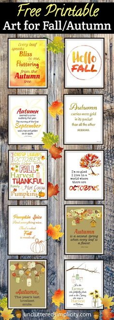free fall printables | printable wall art for fall | autumn printables | free printables