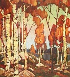 Handmade oil painting reproduction of Tom Thomson Decorative Landscape Birches 1915 - on canvas and available in any size or choose another work from more than different oil paintings and artists. The highest quality paintings and great customer service! Group Of Seven Artists, Group Of Seven Paintings, Most Famous Paintings, Emily Carr, Canadian Painters, Canadian Artists, Landscape Artwork, Landscape Illustration, Landscape Rocks