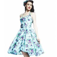 Totally love the colours in this... Hell Bunny May Day Rockabilly Dress | Classic Vintage Floral Design.