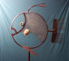 Metal Art Projects, Cool Art Projects, Metal Crafts, Scrap Metal Art, Metal Yard Art, Fish Sculpture, Metal Sculptures, Metal Fish, Steel Art