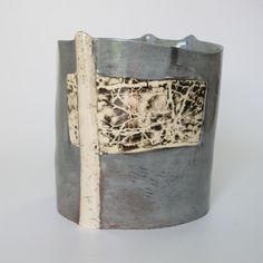 Farnhill birches, thorns, field with rooks: cylinder x x Rook, Earthenware, Mosaic Glass, Ceramic Art, New Work, Workshop, Pottery, Clay, Sculpture