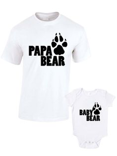 Papa Bear & Baby Bear T-Shirts or Baby Grow - Matching Father Child Gift Set (2 shirts) - Father's Day Present Mum Son Daughter Dad